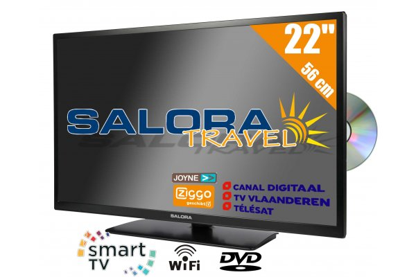 "Salora 22"" Travel TV 12/230 Volt Smart Wifi DVD"